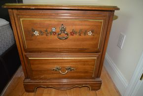 Lot 003  2 Drawer Wood Nightstand 24H x 24W x 17L PICK UP IN MINEOLA, NEW YORK