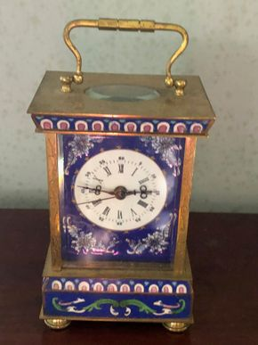 Lot 005 Enamal and Brass Carriage Clock with Enamel Design7H x 4.5W PICK UP IN RVC