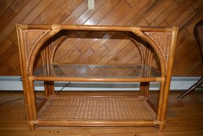 Lot 011 Rattan Cabinet glass shelves 29H x 18W x 39.5L  PICK UP IN CATHEDRAL GARDENS HEMPSTEAD NY