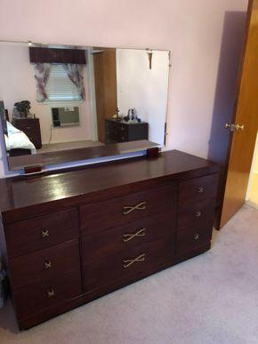 Lot 045 Mahogany 9 Drawer Dresser 60L x 20W x 31H PICK UP IN RVC