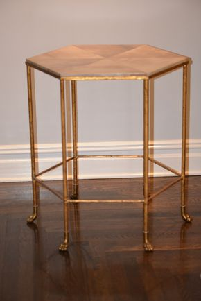 Lot 039 Goat Skin Octagonal Table circa 1940 23W x 28H PICK UP IN NEW HAVEN, CT