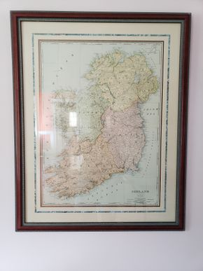 Lot 023 Rand, McNally Co Indexed Atlas of the World Map of Ireland /Wall Art Print Framed 33H x 53W x0.5D.PICK UP IN GARDEN CITY, NY