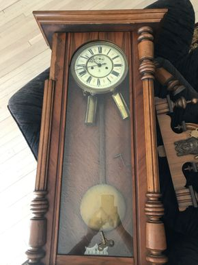 Lot 051 Gustav Becker Antique Weight Driven Clock Needs Repair 47H x 15W x 7.5L PICK UP IN ROCKVILLE CENTRE