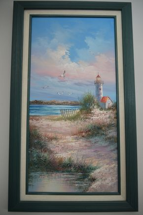 Lot 026 Framed Lighthouse Painting Signed M.Farley 23.375H x 11.5W PICK UP IN SEAFORD, NY