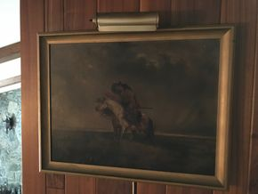Lot 115 Antique Oil On Canvass Painting - Pioneer On Horseback With Light. 17H X 23.5L. PICK UP IN BELLMORE