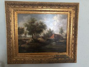 Lot 025 Decorative Oil on Board Landscape signed Humphrey 19W x 15H without frame PICK UP IN RVC