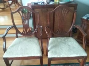 Lot 060 Lot Of 2 Hepplewhite Style Arm Chairs 39H x 18W x 22L PICK UP IN GARDEN CITY