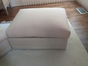 Lot 010 Upholstered Ottoman With Storage Bin PICK UP IN MANHASSET