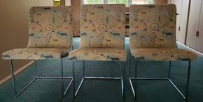Lot 009 CC-PU/Lot of 6 Upholstered Dining Chairs Chrome Frame 33.25H x 19W x 16D PICK UP IN CARLE PLACE,NY