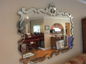 Lot 016 Large 1950s Deco  Wall Mirror 44x 60 PICK UP IN GARDEN CITY