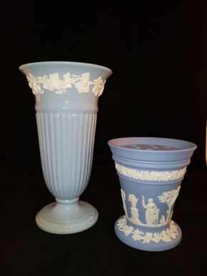 Lot 034 Lot of 2 Vases Wedgwood of Etruria - Barlaston Embossed Queensware  Blue 11H (small chip) /Jasperware Vase with an insert Flower Frog 4.375H x 4.5D PICK UP IN COMMACK,NY