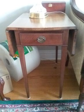 Lot 054 Antique End Table With Drop Down Leaves 26H x 21W x 36L PICK UP IN GARDEN CITY