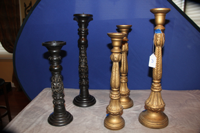 Lot 003 Lot of 5 Decorative Wood Candlesticks Tallest is 24 inches high ITEMS CAN BE PICKED  UP IN WESTBURY