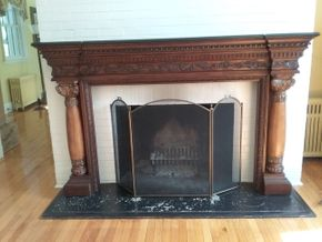 Lot 060 Carved Wood AND Granite Mantel 53H x 13.5Wx 84L PICK UP IN OLD WESTBURY
