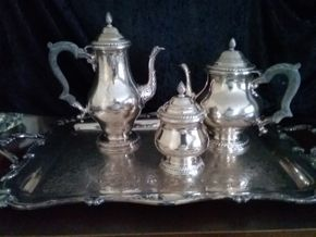 Lot 008 Sterling Silver Tea Set One With Broken Arm and Silver Plated Tray PICK UP IN GARDEN CITY