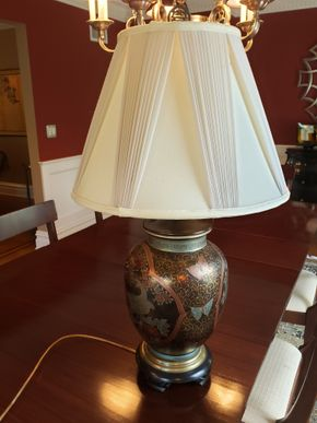 Lot 008  Frederick Cooper Lamp/Silk Shade 31H PICK UP IN GARDEN CITY,NY