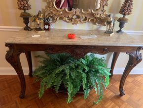 Lot 031 PU Granite Top Console Table 58W X 34H X 18D PICK UP IN GARDEN CITY