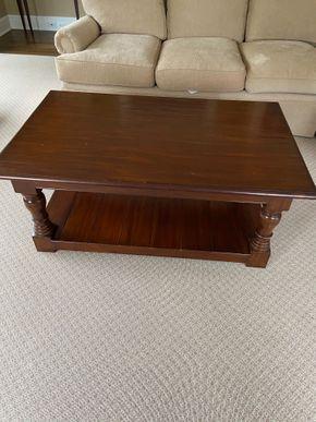 Lot 007 Wood coffee table 48in L X 30in W X 20in H PICK UP IN GARDEN CITY 1