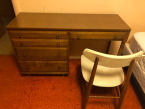 Lot 038 PU Writing Desk with chair and modern chair 48w x 17d PICK UP IN RVC