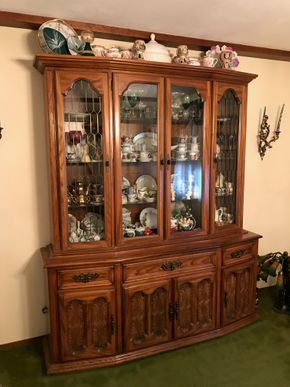 Lot 006 Oak China Cabinet With Three Cabinets And Three Drawers. 84H X 17W X 64.5L. PICK UP IN BELLMORE.