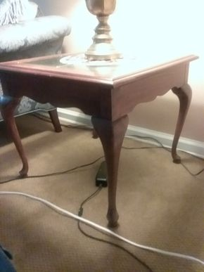 Lot 067 Oak and Glass End Table 23Hx 27W x 27L PICK UP IN WEST HEMPSTEAD