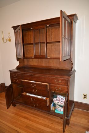 Lot 035 Pick Up Wood 2 Glass Door China Cabinet 7 Drawer  73.5H x 53.875W x 20.375 PICK UP IN ROCKVILLE CENTRE, NY