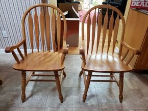 Lot 019 Lot of 2 Oak Wood Dining Armchairs 39H x 21.25W x 19D PICK UP IN WILLISTON PARK,NY