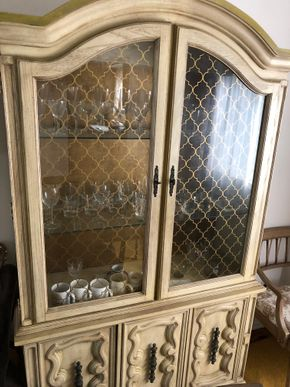 Lot 042 Country French Wood China Cabinet w/Storage 40W x 75H x 15D PICK UP IN NORTH BABYLON