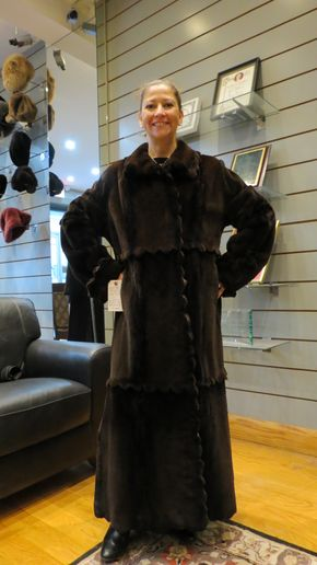 Lot 007 Brown Sheared Mink w/Scallop Design Size 10 Length 52in Sleeve 30in Sweep 66in Style 2627 - - Item Num: 7452-8