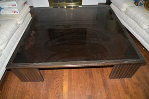 Lot 031 Dark Glass Top Coffee Table with wood frame 15H x 60W x 60LPICK UP IN GARDEN CITY
