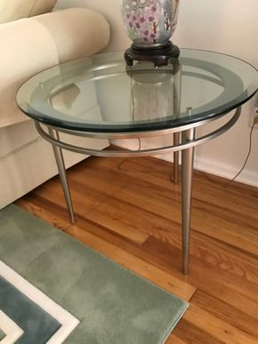 Lot 145 Pair of Ethan Allen Round Glass/Metal End Tables 23Inches Tall 28 In Diameter PICK UP IN GARDEN CITY