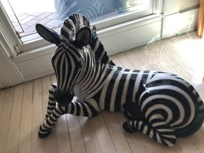 Lot 049 Decorative Ceramic Zebra 28 Inches long 20 Inches Tall PICK UP IN ROCKVILLE CENTRE