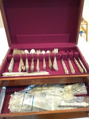 Lot 025 Sterling Silver Service For 12 (5-pc. place setting with butter knife) and Serving Pieces in Wooden Box Grand Tradition by International Silver   PICK UP IN GARDEN CITY
