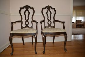 Lot 005 LOT of 2 Wood and Upholstered Chairs 52.5H x18W x18L PICK UP IN CATHEDRAL GARDENS HEMPSTEAD NY