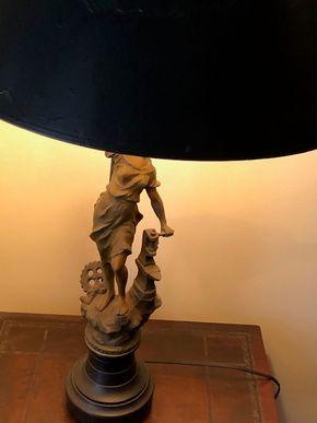 Lot 108 White Metal Figural Lamp Female Blacksmith working Lamp 30Tall x 5in base