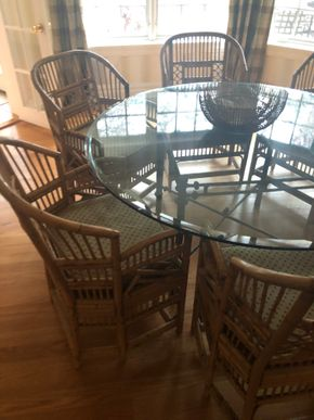 Lot 001 Round Glass Table on Wrought Iron Base 60