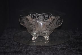 Lot 009  Pick Up Etched Glass Bowl 5H x 12.5W x 12.5L and Platter 14.4 PICK UP IN ROCKVILLE CENTRE