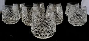 Lot 031 CC-PU/Lot of 9 Waterford Alana Pattern Roll Poly Glasses 3.25H x 2.75W PICK UP IN CARLE PLACE,NY
