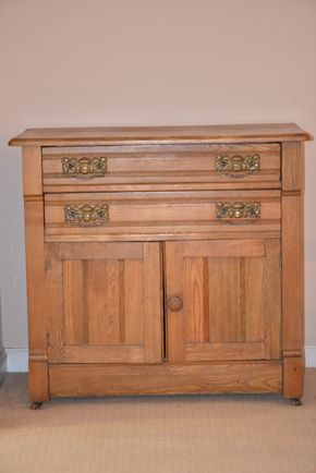 Lot 005 Oak  2 Drawer Cabinet 29H x 31.5W x 15.75L PICK UP IN GLEN COVE, NY