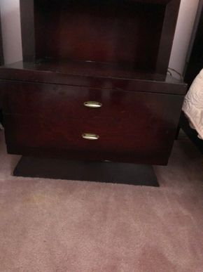 Lot 034 Mahogany End Table w/1 drawer AS IS 28H x 22W x 17D PICK UP IN RVC
