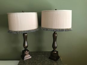 Lot 044 Lot Of Two Frederick Cooper Contemporary Lamps With Fringe. 31H. PICK UP IN ROCKVILLE CENTRE.