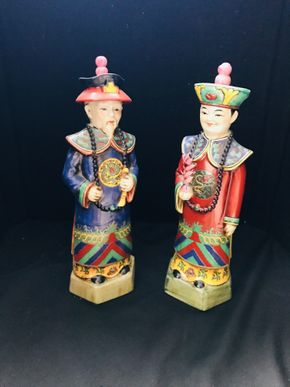 Lot 022 Lot Of Two Japanese Porcelain Figurines. Approx 13.75 H. PICK UP IN STONY BROOK.