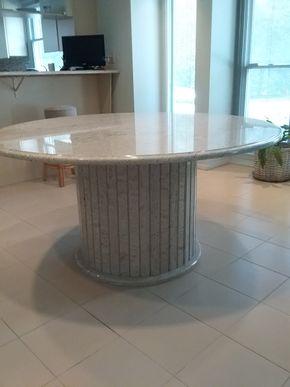 Lot 063 Custom Granite Pedestal Kitchen Table 31H x 60 In Diameter PICK UP IN OLD BROOKVILLE