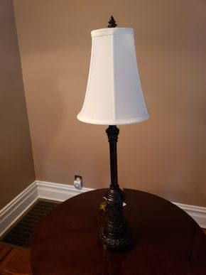 Lot 014 Candlestick Table Lamp As Is Chipped  31.5H PICK UP IN GARDEN CITY,NY
