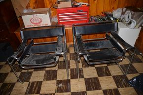 Lot 010 Pick Up Lot of 2 Black Leather Chrome Sling Chairs 27H x 30.5W x 26.5L PICK UP IN FLORAL PARK, NY