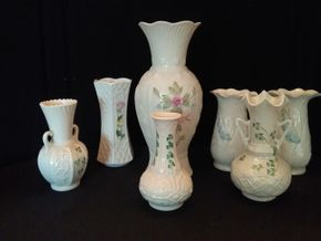 Lot 056 Lot Of 7 Belleek Vases PICK UP IN ROCKVILLE CENTRE