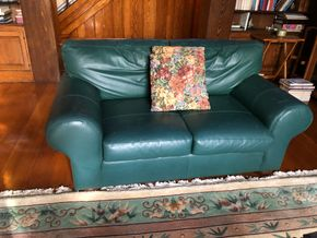 Lot 006 Pair of 2 Green Leather Sofas As Is PICK UP IN GARDEN CITY