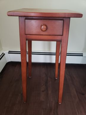 Lot 010 Small Vintage 1 Drawer Wooden Table 28.25H x 14W x 14D PICK UP IN GARDEN CITY, NY