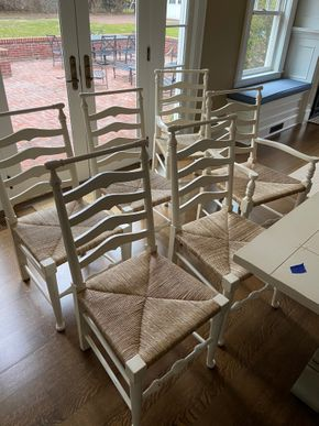 Lot 005 Lot of 6 wood ladder back chairs 19in X 19in X 40in H PICK UP IN GARDEN CITY 1