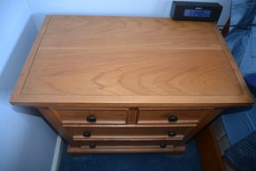 Lot 020 Oak Wood 3 Drawer End/Night Table 29H x 28.25W x 16L PICK UP IN SEAFORD, NY